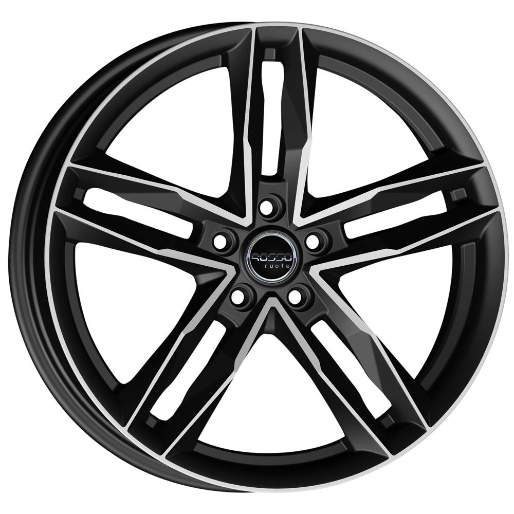 "NEW 18"" ROSSO RR8 ALLOY WHEELS IN MATT BLACK WITH POLISHED FACE et35 OR et45"